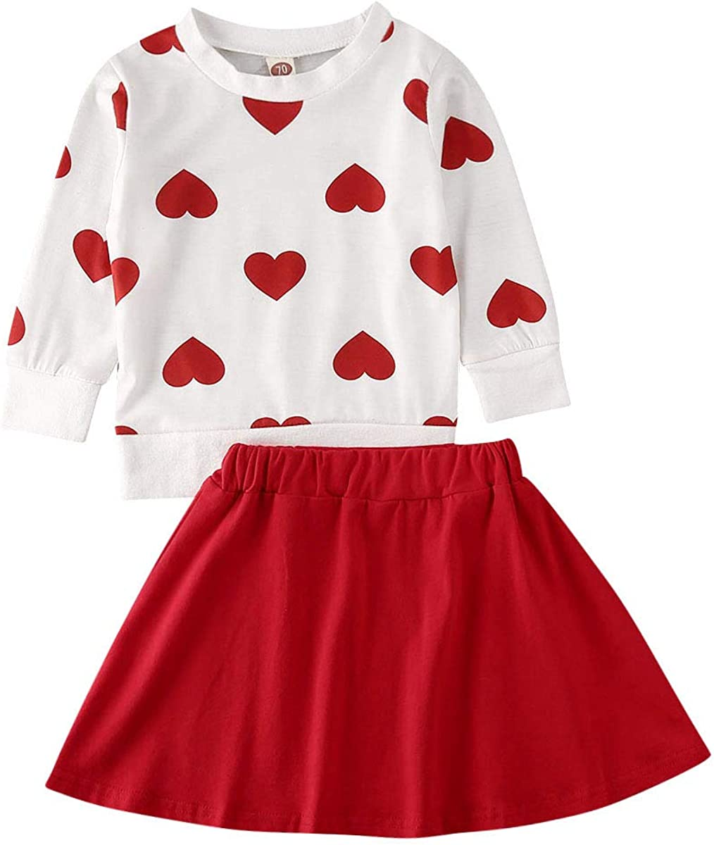 2PCS/3PCS Toddler Baby Summer Fashion Outfits Kids Ruffle T-Shirt Tops Print Heart Shape Pullover Clothes Set