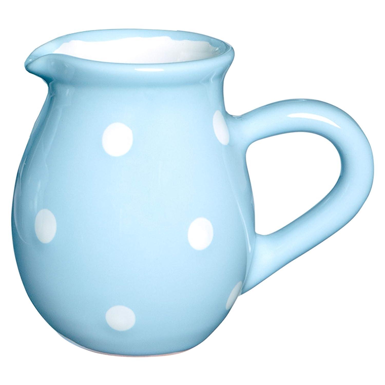 City to Cottage Light Sky Blue And White Polka Dot Spotty Handmade Hand Painted Ceramic Milk Jug Creamer Pourer citytocottage.co.uk