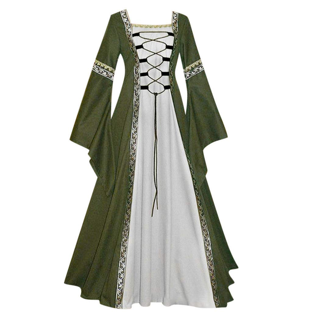 Womens Dress Medieval Renaissance Costume Vintage Lace-up Floor Length Irish Princess Over Dress Plus Size Gowns (L, Green)