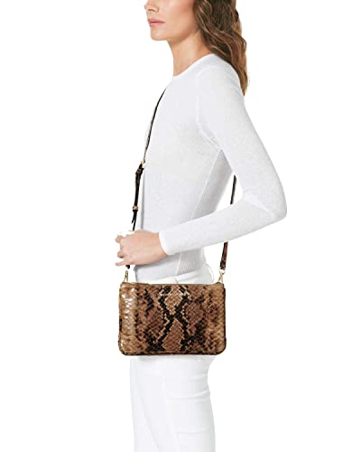c637f6e600dd Michael Kors Bedford Leather Gusset Crossbody Purse Bag Sand Snake   Handbags  Amazon.com