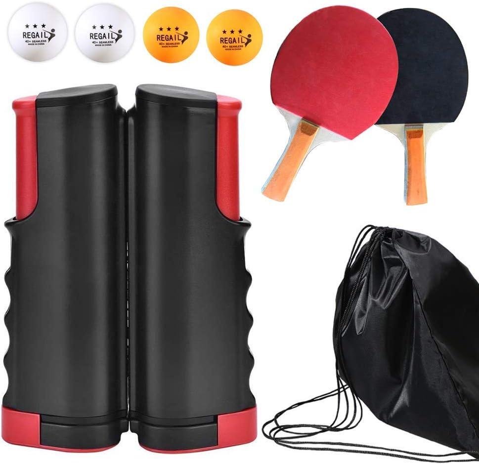 LOAER Portátiles Conjuntos de Ping-Pong con 2 murciélagos y 4 Bolas, retráctil Mesa de Ping Pong Nets para NiñOs Adultos Interior O Exterior Juego De Ping Pong