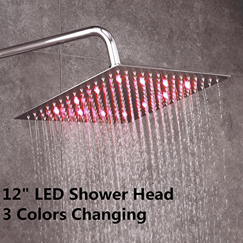 "Fyeer 12"" LED Rainfall Shower Head Square, Ultra-thin Luxury Bathroom Showerhead Ceiling Mounted, 3-LAYER Brushed Nickel 304 Stainless Steel, Temperature Sensor 3 Colors Chaning"