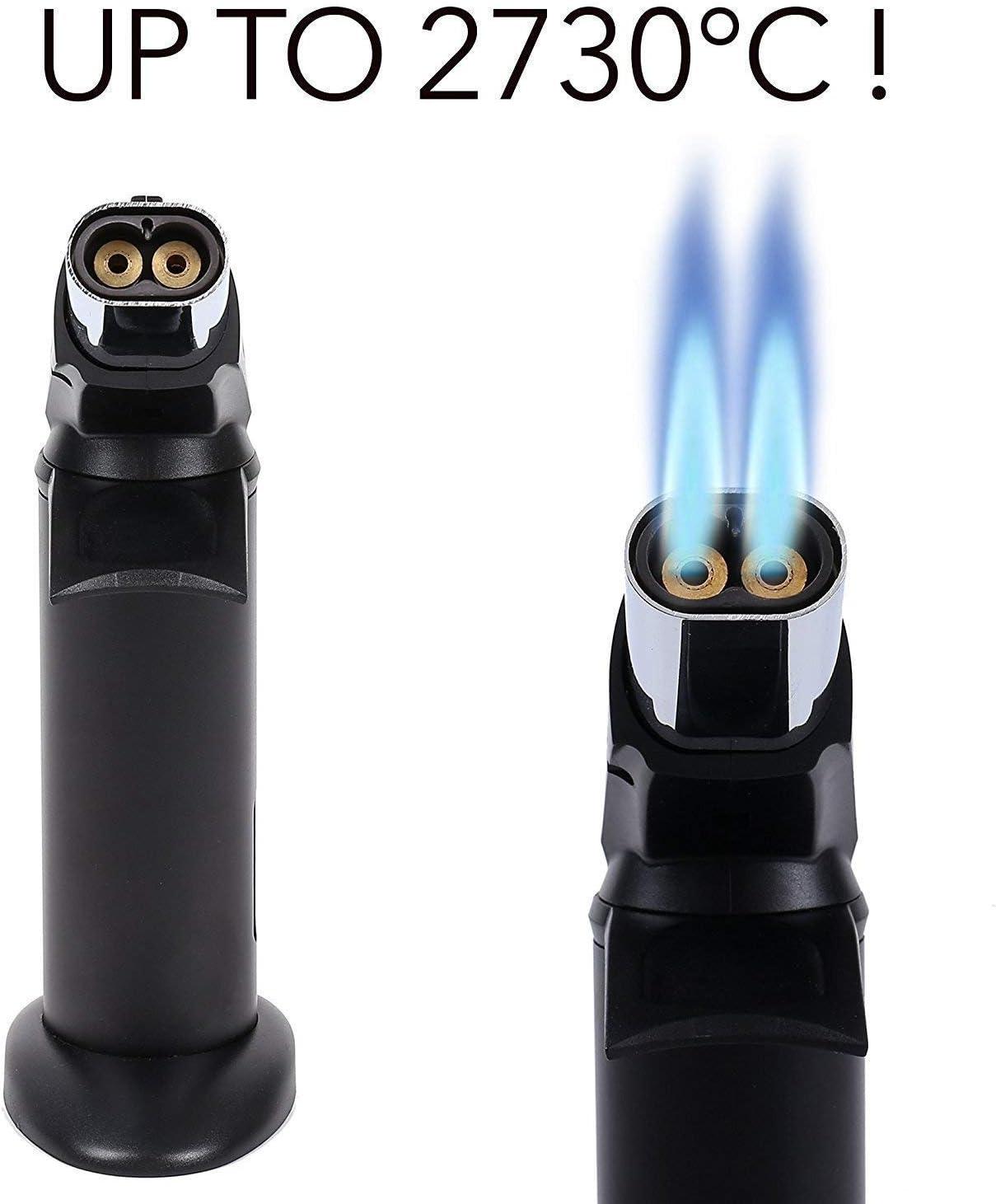 Schwarz Flambierer ZALA K/üchenbrenner mit Doppelflamme Butan inbegriffen Nicht von Cr/ème Br/ûl/ée bis BBQ von K/öchen verwendeter Flambierbrenner Butangasbrenner