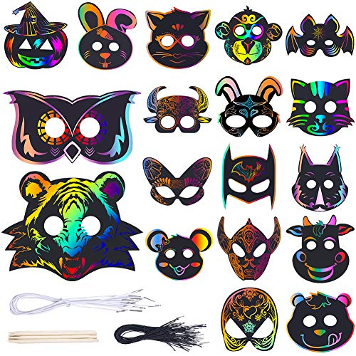 42 Pieces 18 Different Types Animal Rainbow Art Scratch Masks Halloween Masks Dress-Up Party Accessory DIY Gift