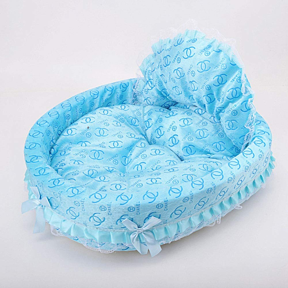 bluee L bluee L FELICIOO Pet Nest Lace Side Pet Princess Nest Bow Kennel Cat Bed (color   bluee, Size   L)