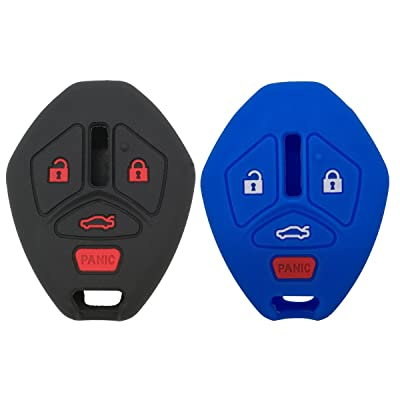 2Pcs Coolbestda Rubber 4buttons Key Fob Remote Cover Case Protector Keyless Jacket for Mitsubishi Eclipse 2006-2012 Endeavor 2006-2011 Galant 2006-2012 Lancer Outlander 2007-2013