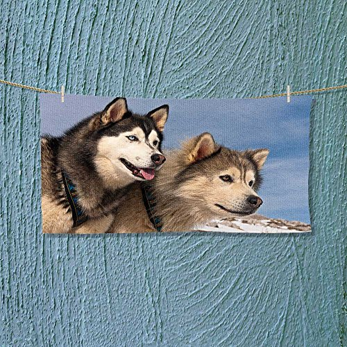 vanfanhome Photo Or Text Image DIY Personalized Custom Towels/Hand Towel Acrylic for Beach, Pool or Bath! Unisex towels!(A pair of Huskies on mountain against blue sky)