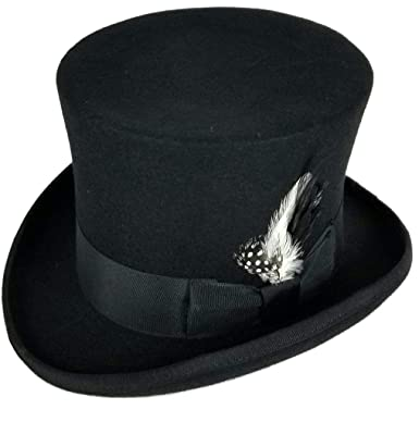 Differenttouch 100% Wool Felt Top Hats Victorian Style Made Hatter 6 quot   Tall Gentlemen Magic d91d2674b54