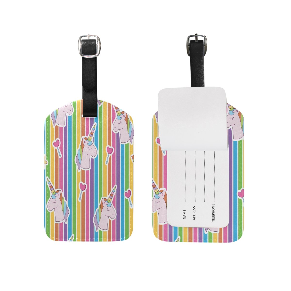 1Pcs Saobao Travel Luggage Tag Vibrant Edgy Unicorn Head Rainbow PU Leather Baggage Suitcase Travel ID Bag Tag
