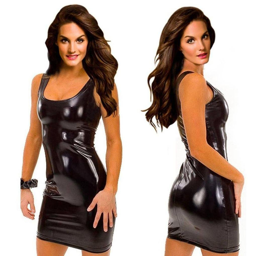 8186e03e91a0 Amazon.com  Minisoya Women s Erotic Lingerie Mini Nightdress Shiny Babydoll  Bodysuit Teddy Clubwear Bodycon Dress Temptation Racy Sleepwear (Black)  ...