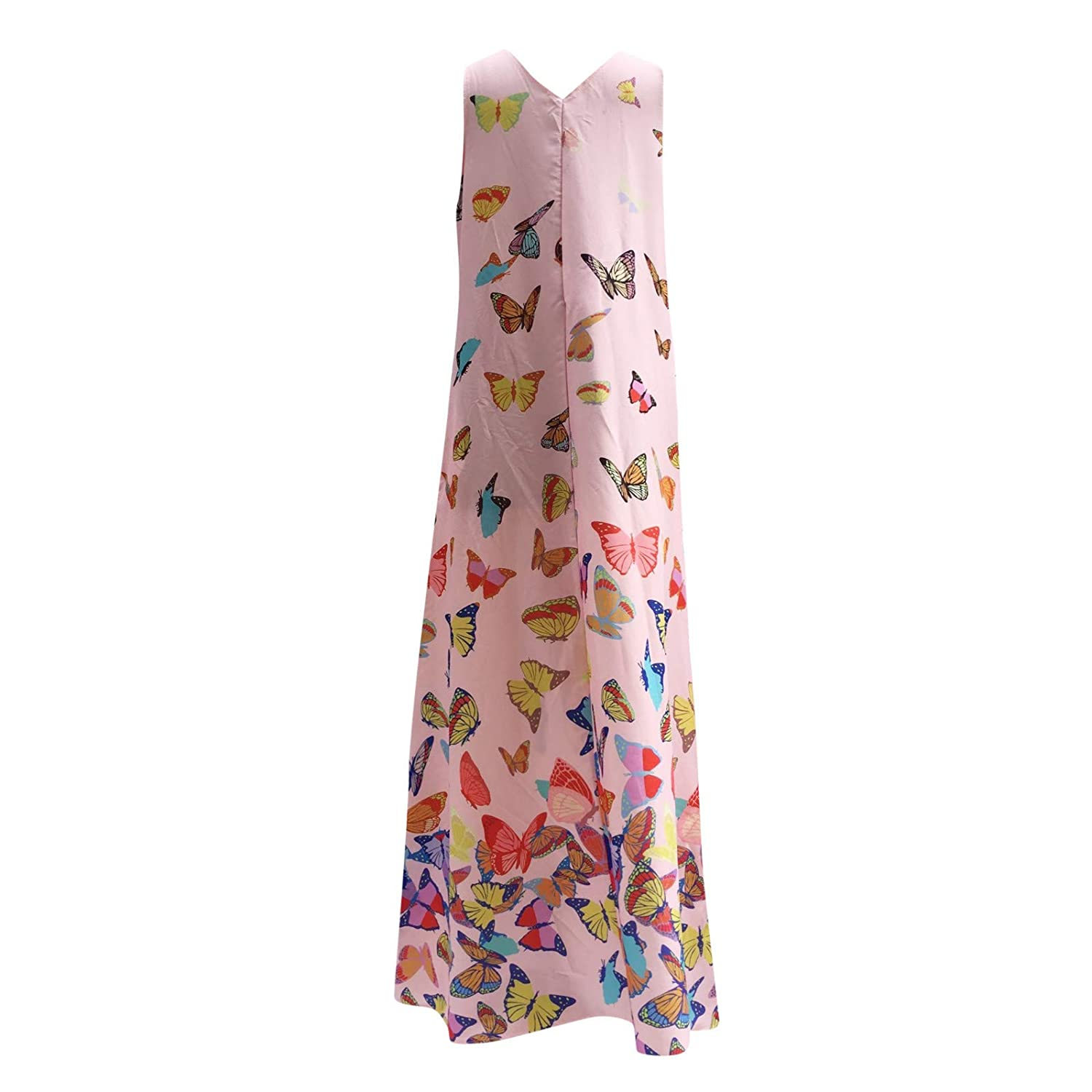 Women Print Dress Casual Big V-Neck Sleeveless Loose Long Dresses by Tootu