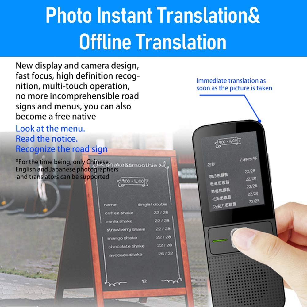 Portable Voice Translator Support All 138 Plus Languages Two Way WiFi//Hotspot//Offline Instant Voice Translator Device 2.4inch Touch Screen Camera Translation Language Translator Device
