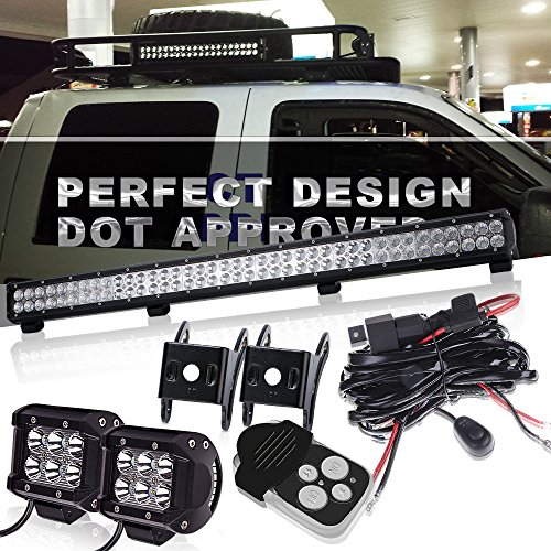 TURBO SII 36In Combo Led Light Bar On Canopy Roof Rack Brush Bar Grill Guard Roll Bar Push Bumper With 4In Pods Cube Driving Fog Lights For F350 Kawasaki Mule ()