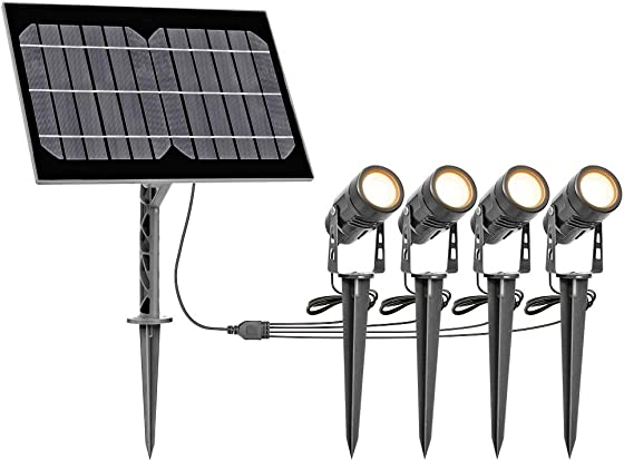 Solar Spotlights Outdoor Landscape Solar Spot Lights Garden Spotlights IP65 Waterproof Auto On Off with 4 Uplights Warm White for Outdoor Garden Yard Park Landscape