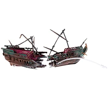 F Fityle Acuario Ornamento Naufragio Barco de Vela Hundido Barco Pecera Ocultar Cueva Decoración - Estilo 2: Amazon.es: Hogar
