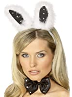 Smiffys Diamante Black And White Bunny Ears Set Fancy Dress