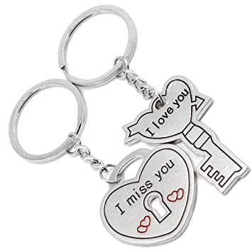 1e50658af8 Faynci Miss You Heart Lock and Key with Love You Silver Metal Key Chain for  Couple: Amazon.in: Bags, Wallets & Luggage