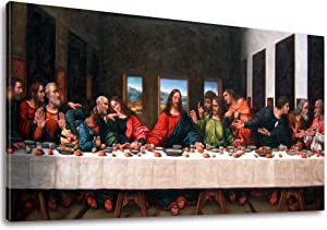 "Vijf Arte The Last Supper by by Leonardo Davinci- 20"" x 40"" Long Classic Painting Print Pictures Canvas Artwork Framed for Living Room Bedroom Home Office Decor"