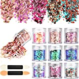 Tatuo 10 Boxes Nail Chunky Glitter Sequins Iridescent Flakes Cosmetic Paillette Ultra-thin Tips with 10 Pieces Eyeshadow Brushes for Face Body Hair Nails (Color Set 1)