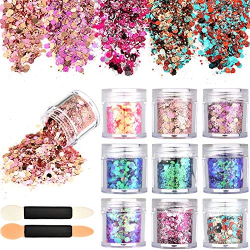- Tatuo 10 Boxes Nail Chunky Glitter Sequins Iridescent Flakes Cosmetic Paillette Ultra-thin Tips with 10 Pieces Eyeshadow Brushes for Face Body Hair Nails (Color Set 1)