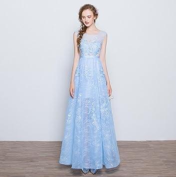 WZH Formal vestido de noche doble hombro-hombro Floral cremallera encaje . ice blue .