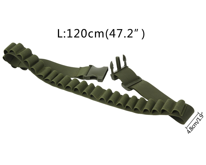 26/rondas, 47.2/* 1.9 hombre Cintur/ón para cartuchos de escopeta t/áctica munici/ón Canana correa de transmisi/ón para caza negro