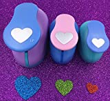 Tech-P Creative Life 3 PCS (1.5'',1'',5/8'') Heart Shape Craft Punch Scrapbook Paper Cutter Eva Foam Hole Punches