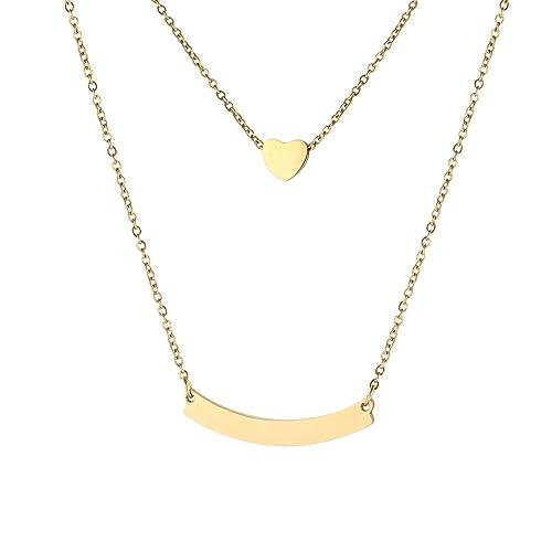 U7 Collar Mujer de Oro Tono Collar Gargantilla de Acero ...