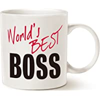 MAUAG Christmas Gifts World's Best Boss Funny Coffee Mug for Boss Day White 14 Oz, Work and Office Holiday or Birthday Present for Worlds Best Male or Female Bosses, Manager