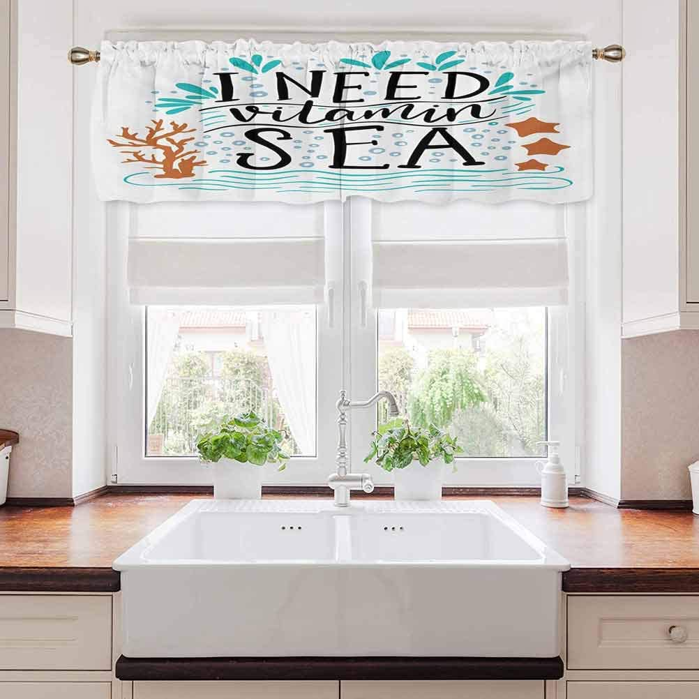 "carmaxs Sea Valances Window Treatments, I Need Vitamin Sea Inspirational Quote Hand Drawn with Coral Waves Starfishes Bubbles, 54"" x 12"", Multicolor"