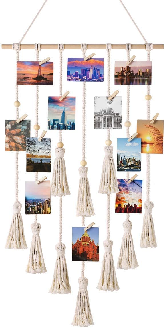 Mkouo Foto Colgante Displays Macramé Cuadro para Colgar en la Pared Organizador con 30 Clips de Madera Boho Decor for Home, Living Room, Bedroom, Ivory White, 108cm (L) × 43cm (W)