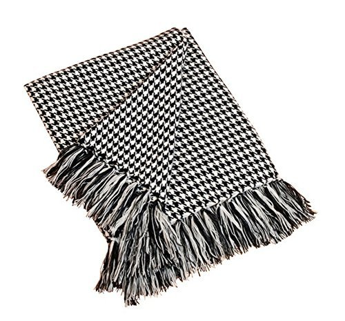 (Houndstooth Fringe Throw Blanket (Black))