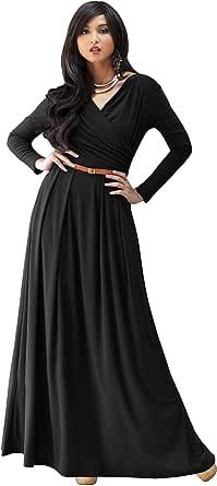 KOH KOH Womens Long V-Neck Full Sleeve Semi Formal Flowy Evening Cute Maxi Dress