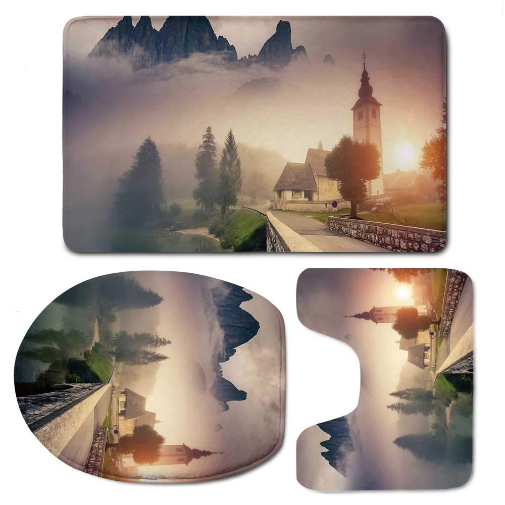 YOLIYANA Landscape Simple Bathroom 3 Piece Mat Set,Majestic Foggy Morning Scene Triglav National Park Mountain Valley Dramatic View Decorative for Living Room,F:20'' W x31 H,O:14'' Wx18 H,U:20'' Wx16 H