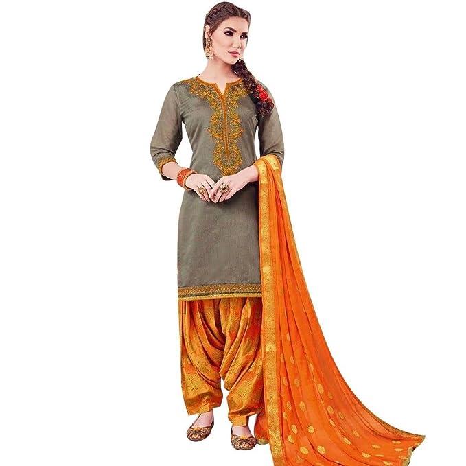 477fbbf745 Ladyline Salwar Kameez Silk Embroidered Patiala Pants With Brocade Dupatta Readymade  Indian Dress: Amazon.co.uk: Clothing