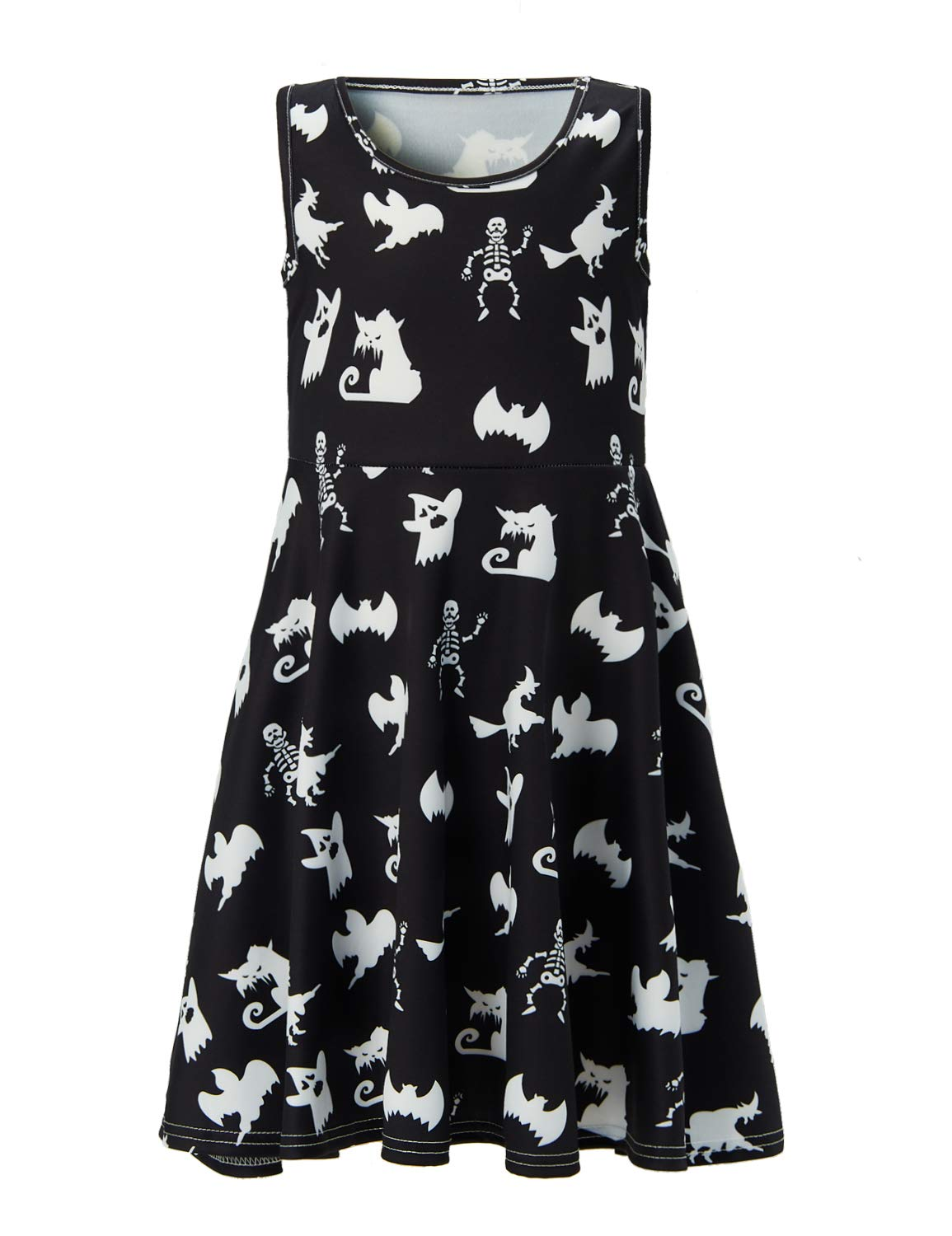 UNIFACO Big Girls Ghost Halloween Dress Holiday Party Sleeveless Bat Printed Dress 10-13 T by UNIFACO (Image #1)