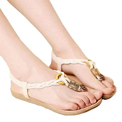 Toe Sandals Beach ShoesElaco Summer Bohemia Sweet Beaded Sandals