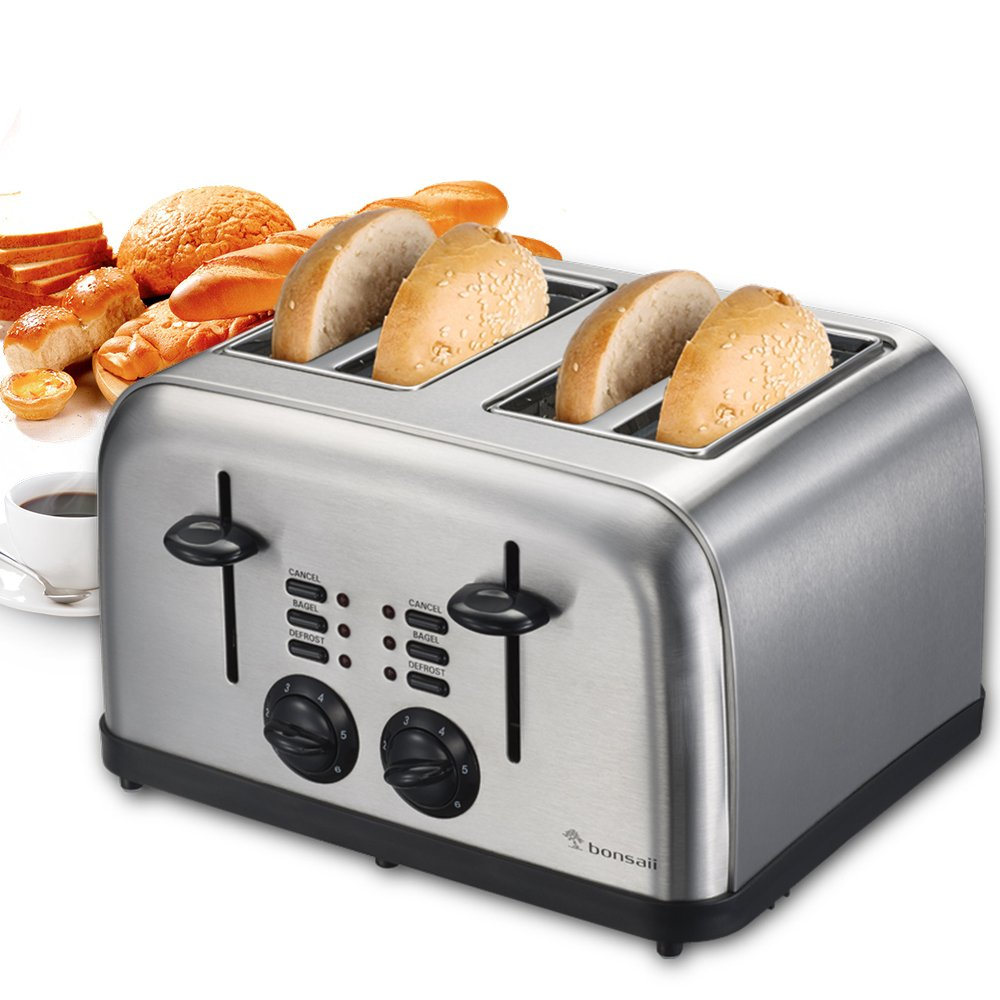 Bonsaii T866 4-Slice Bagel or Bread Toaster,Defrost and Cancel Function&Easy Clean Removable Crumb Tray&Variable Browning Control,Stainless Steel Housing