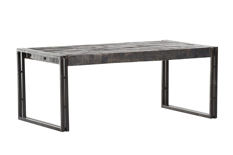 Stylefurniture Couchtisch aus Metall Metall Metall und Massivholz, Holz, braun, 110 x 60 x 45 cm a150d0
