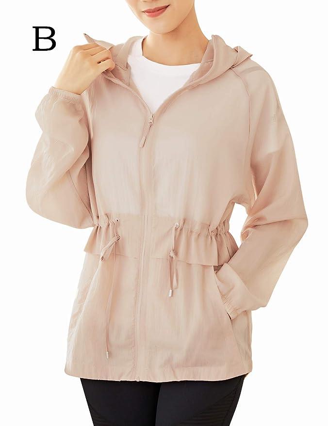 TKTOKY Women Yoga Jacket Ultra-Thin Full Zip Hooded UV Sun Protection Sports Running Jacket