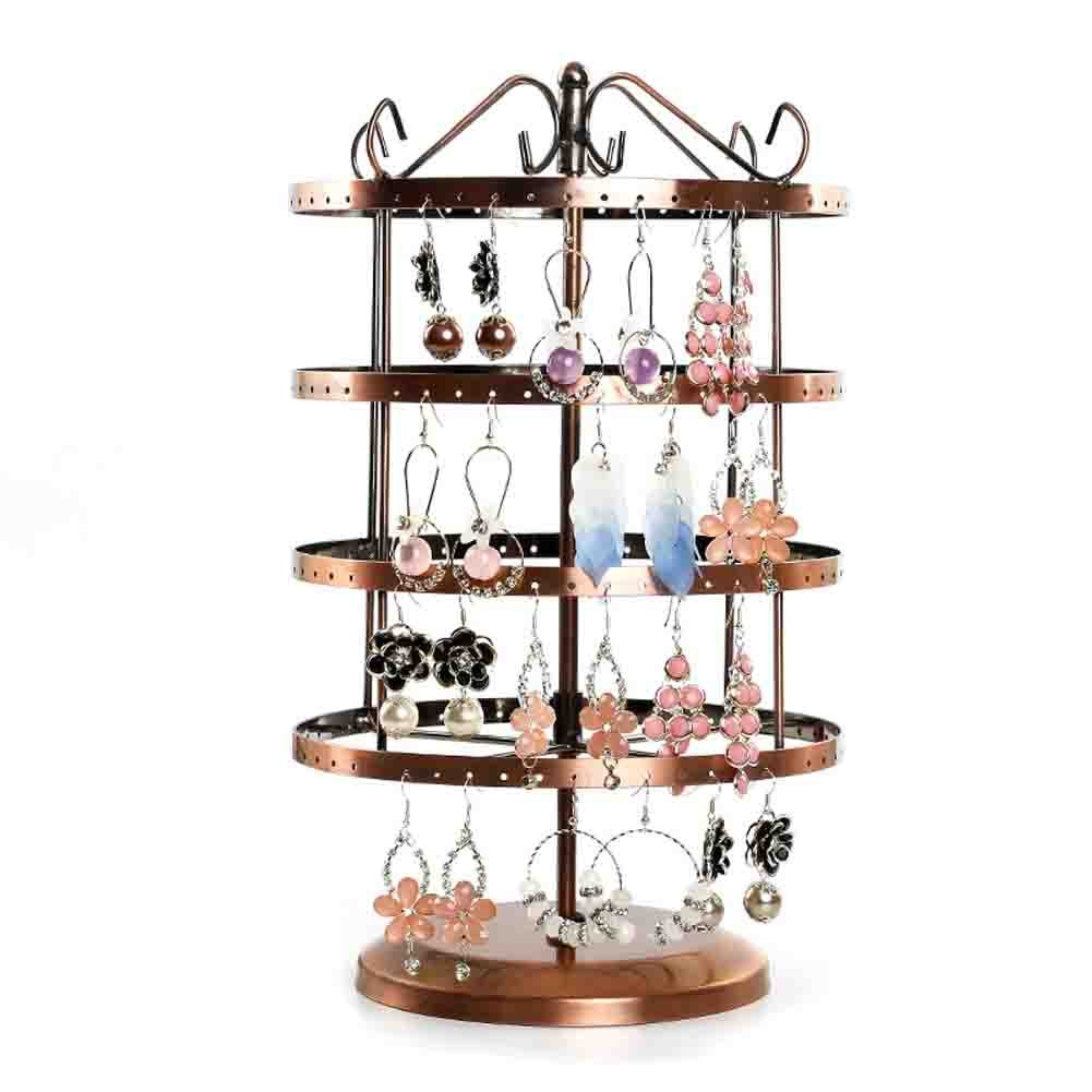 Earring Tree, Botitu 13 inch Tall Jewelry Holder Stand with 144 Hooks and 4 Tiers Spinning Earring Organizer for Girls and Women Jewelry Tower, Perfect for Dresser, Tabletop, Shelf and Showcase Jewelry Display (Copper, Square)