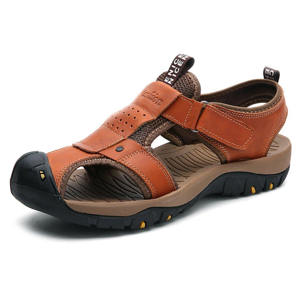 Sunny&Baby Sandalias de Playa de los Hombres Cuero Genuino Transpirable Perforación Vamp Antideslizante Zapatos de Suela Fuerte Resistente a la Abrasión 38 EU|Marrón