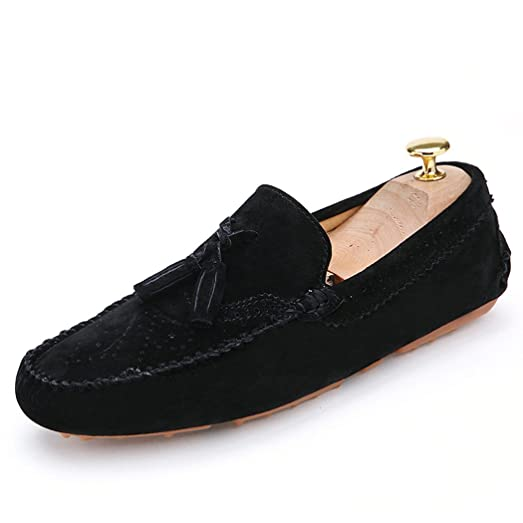 Mens Loafers Tassel Slip On Casual Driving Shoes Moccasin Warm Lining Flats Black QIANLING COLLECTION US8