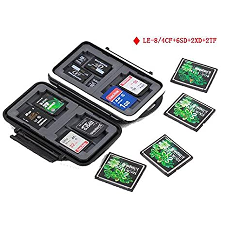 kalaixing® Funda para tarjeta de memoria impermeable – – Estuche para tarjetas de memoria (SD, SDHC, SDXC, Compact Flash CF tarjetas -- le-8