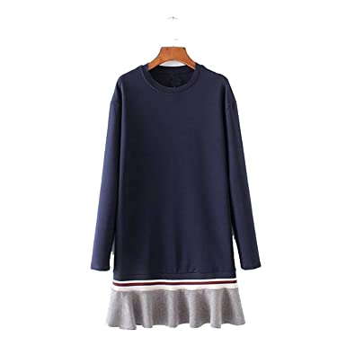 Amazon.com: Bang-pa Fashion Women ruffles oversized loose dress long sleeve o neck spring autumn dresses vestido female QZ2660: Clothing