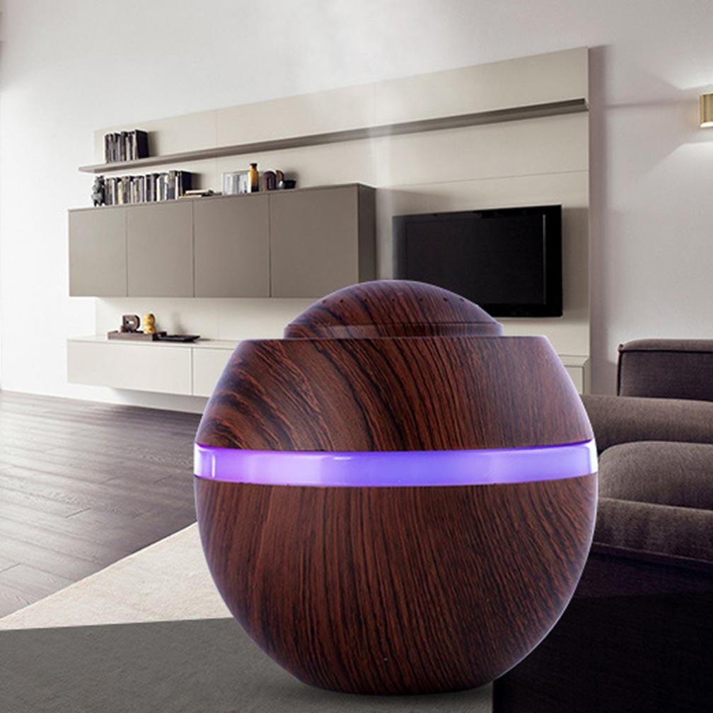 STRIR 500ml Humidificador Aromaterapia Ultrasónico, Difusor de Aceites Esenciales, 7-Color LED,Seguro y Elegante, purificar el aire y mejorara el ...