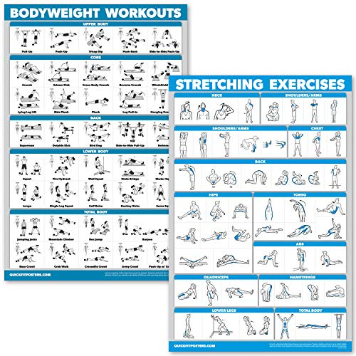 QuickFit Bodyweight Workouts and Stretching Exercise Poster Set - Laminated 2 Chart Set - Body Weight Exercise Routine & Stretching Workouts (18