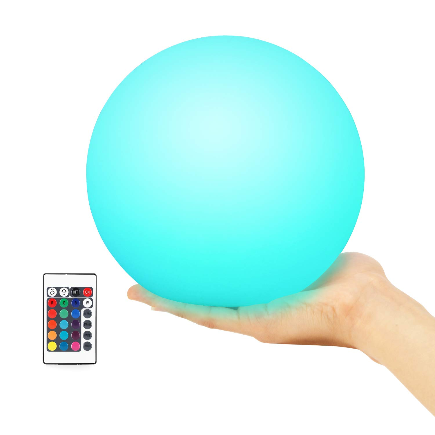 Kohree Floating Pool Light, Light Up Swimming Pool Ball Light for Inground and Above Pool with Wireless Remote, 6 Inch, 16 Colors Rechargeable Floating Orb Light