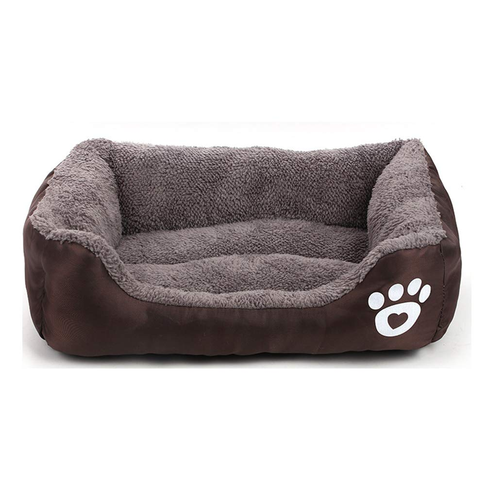 Brown Small Brown Small Pet Dog Beds Autumn and Winter Footprints Cotton Velvet pet nest Candy color Square
