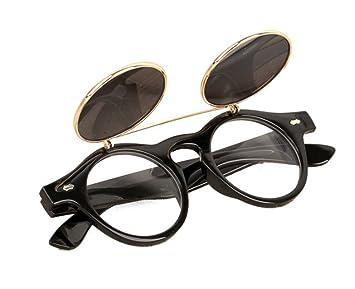 Bluestercool Lunettes de soleil Steampunk Goth Goggles Retro Flip Up  Lunettes de soleil rondes Vintage ( fcaacdd5fb7c